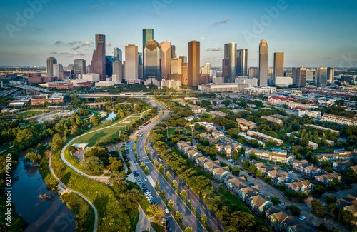 Houston, Texas Skyline At Sunset