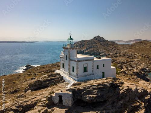 Phare de Capo di Korakas sur l'île de Naxos en Grèce
