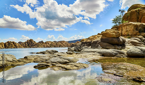 Foto Murales Inlet to Lake surrounded by Boulders