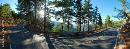 Beautiful Road in the Mountains of Cyprus island. Stitched Panorama - 217496961