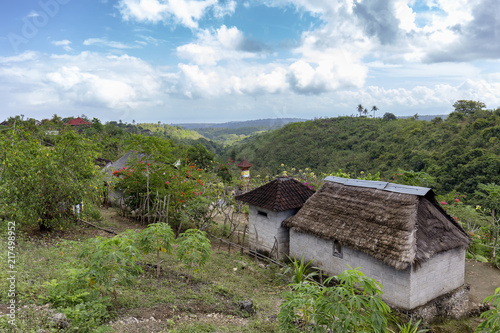Fotobehang Bali Inland view of a small valley on Nusa Penida near Bali.