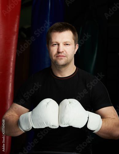 Caucasian boxing man