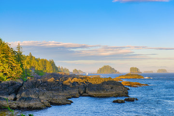Shoreline at wild pacific trail in Ucluelet, Vancouver Island, BC