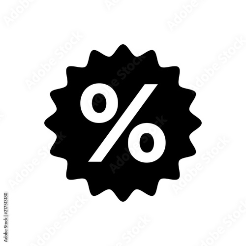 Percentage sign icon vector black - 217513180