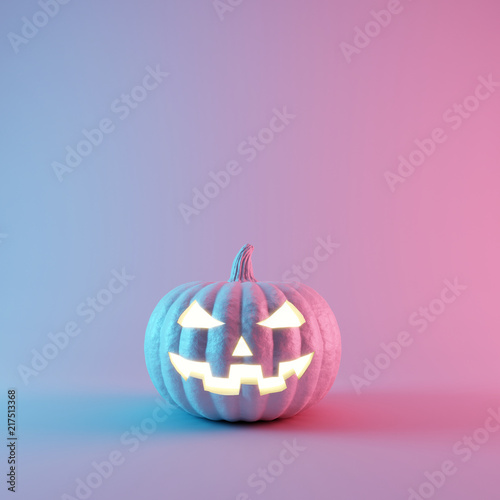 Halloween Pumpkin with neon lights on pastel colors background. 3d rendering © aanbetta