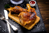 Roast chicken legs with and vegetables - 217519149