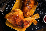 Roast chicken legs with and vegetables - 217519322