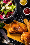 Roast chicken legs with and vegetables - 217519368