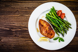Grilled chicken breast and vegetables - 217519973
