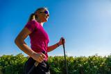 Nordic walking - young woman training - 217520592