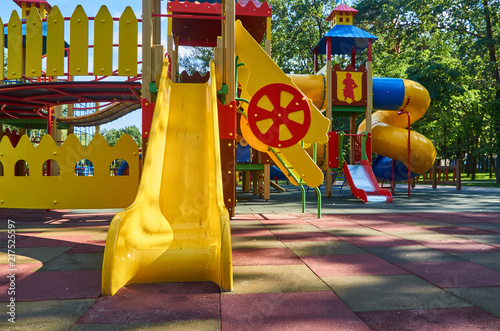 children's playground in a public park, kid's entertainment and recreation