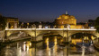 Quadro Night view of Rome. There is a bridge over Tiber and Saint Angel Castle in background