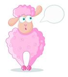Funny pink sheep, vector illustration
