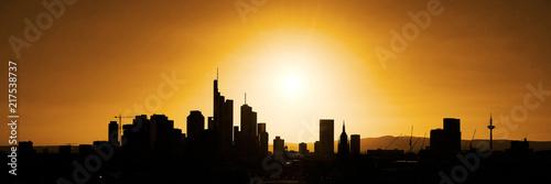 Sticker Skyline von Großstadt als Panorama Silhouette