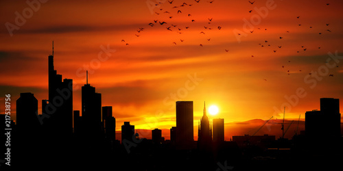 Plakat Großstadt Skyline Panorama als Silhouette