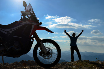 motorbike adventure and discovery happiness in high mountains © crazymedia