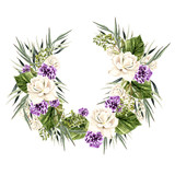 Watercolor Wreath with white  and purple rose.  - 217540982