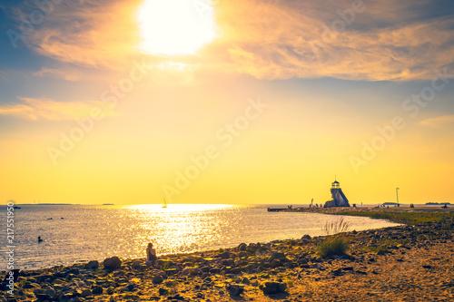 Canvas Zee zonsondergang Sunset view from Nallikari beach. Oulu, Finland.