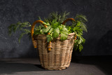 Parsley and dill in a basket - 217554368