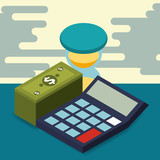 business calculator hourglass pile banknote money vector illustration isometric - 217566507