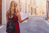 tourist with map, summer holidays travel - 217568957