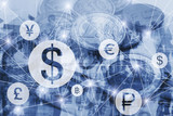 money exchange concept, symbols of different foreign currencies connected on virtual network interface, dollar, euro and pound - 217569105