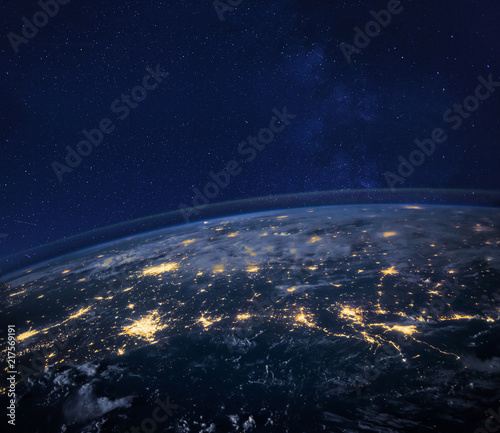night view of planet Earth from space, beautiful background with lights and stars, close up, original image furnished by NASA - 217569191