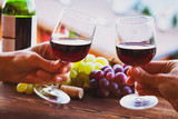 red wine, couple drinking in luxurious restaurant - 217569536