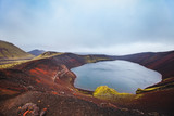 moon landscape with red crater in Iceland, Ljotipollur Lake in volcanic mountains of Landmannalaugar, beautiful scenic nature of highlands - 217569544