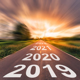 Empty asphalt road and New year 2019 concept. Driving on an empty road to Goals 2019. - 217569550
