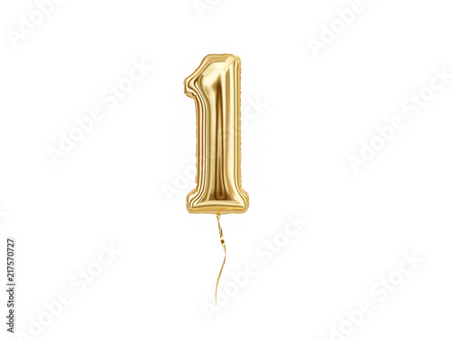 Numeral 1. Foil balloon number One isolated on white background