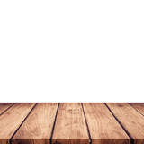 Empty wooden table top on isolated white, Template mock up for display of product. - 217570915