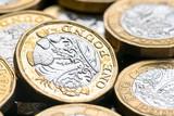 New British one pound coin in studio - 217572710