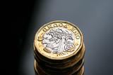 New British one pound coin in studio - 217572914