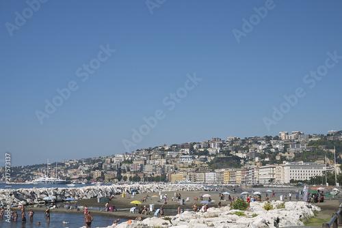 Fotobehang Napels Naples, Italy - July 25, 2018 : View of Mergellina beach
