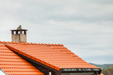 Red roof of house with concrete chimney - 217573362