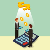 businessmen with tablet and calculator dollar money isometric vector illustration - 217576595