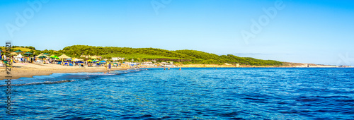 Panoramic landscape of sardinian crowded beach - 217577521