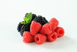 Fresh raspberries and blackberries