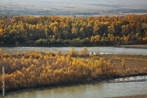 Fotobehang Herfst Kura river at Uplistsikhe near Gori. Shida Kartli region. Georgia