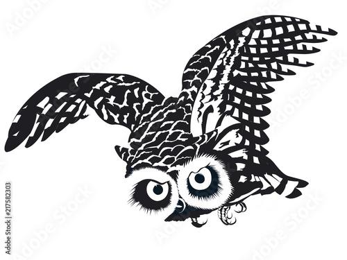 Fotobehang Uilen cartoon chouette isolée en noir et blanc