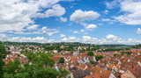 Germany, XXL city panorama of the roofs of old town Tuebingen