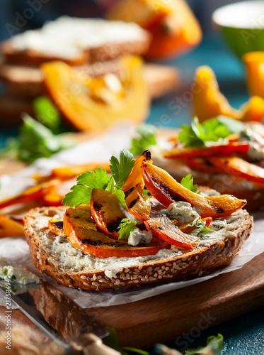 Leinwanddruck Bild Sandwich with grilled pumpkin
