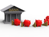 3D render - piggy banks taking savings to the bank - 217588194