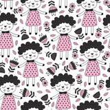 seamless pattern with sheep girl and flower in Scandinavian style - vector illustration, eps