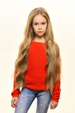 wavy hair. small girl with beautiful wavy hair. wavy hair of pretty kid isolated on white. wavy hair stylish at hairdresser. - 217588507