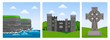 Cliffs of Moher in County Clare, Malahide castle, celtic cross. Travel to Ireland. Set of square vector flat illustrations. - 217592934