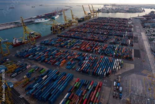 Aluminium Barcelona Shipping containers at Industrial port of Barcelona i