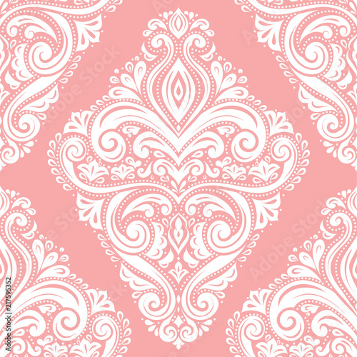 Pink and white vintage vector seamless pattern, wallpaper. Elegant classic texture. Luxury ornament. Royal, Victorian, Baroque elements. Great for fabric and textile, wallpaper, or any desired idea. - 217595352
