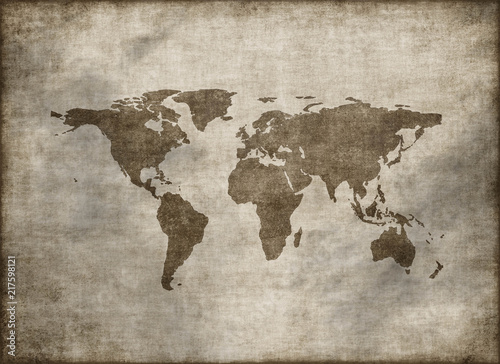 classic vintage old grunge world map © Jezper